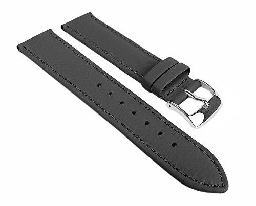Eulit Fancy Classic Ersatzband Uhrenarmband Rindsleder Band Grau 25456S, Stegbreite:14mm