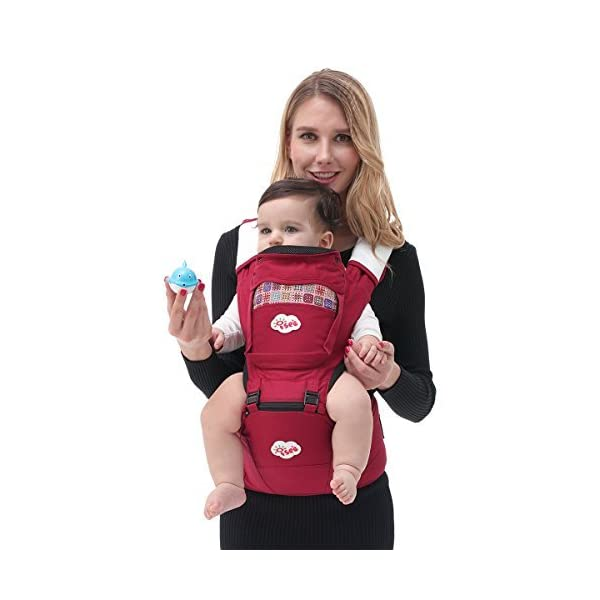 ISEE Baby Carrier Sling Detachable Hip seat Baby Registry Newborn Birth Child Infant   Comfort Cotton Ergo Front Carrier wrap with Hood Shoulder Harness Support Adjustable Perfect Nursery Sets ISEE ✿THE ERGONOMIC DESIGN - ISEE Baby carrier supports babies of all sizes, from small three-month-olds to lovely toddlers.This design takes the weight of your baby and evenly distributes it to your hips, so your back and shoulders don't get sore. The top carriers tried and tested by expert mom and dad reviewers, there's a front or back carrier to suit your lifestyle. ✿STYLISH CONVENIENT COMFORT - Ergonomic Hip seat carrier provides maximum comfort for parents and babies with Stylish Design foldable head and neck support allows you to carry your baby in 10 Different ways (including front, forward facing, back, and hip carry positions). ✿QUALITY IS OUR PRIORITY - It has been our priority to provide baby carriers of high quality at favorable prices, and providing proper stretching of the material, Soft and durable 100% cotton with 3D mesh insert for temperature control and comfort for you and your baby. which is crucial for correct support of the baby's spine and comfortable spreading of the weight on shoulders of the carrying person. 1
