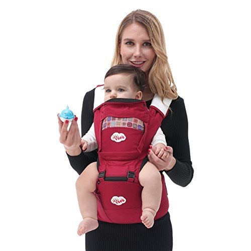 ISEE Marsupio neonato per il trasporto del bambino Mani libere, 6 in1 ergonomico progettato Multiple posizioni, Rosso