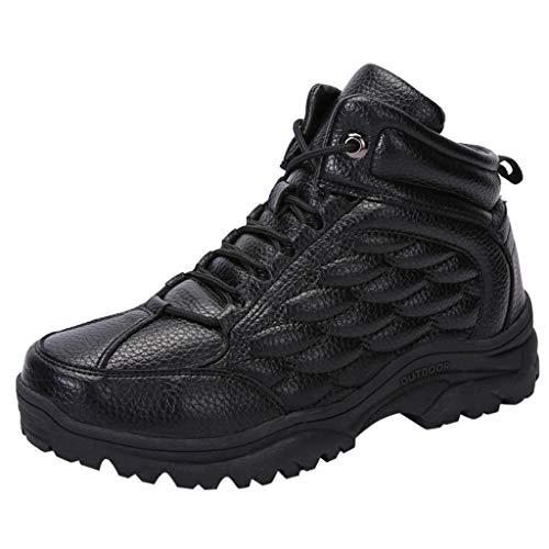HDUFGJ Herren Trekking-& Wanderhalbschuhe Plus Samt Warm halten rutschfeste Schneeschuhe Outdoor-Schuhe Reiseschuhe Verschleißfest Wasserdicht Laufschuhe Freizeitschuhe Damen42(Schwarz)