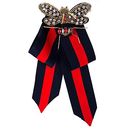 Wantschun Damen Schleifenbrosche Streifen Strass Perle Schmuckbrosche Bowknot Kleid Schleifen Blusen Brosche Design H: Rot+Blau
