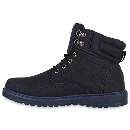 Herren Worker Boots Outdoor Schuhe Warm Gefüttert Profil Sohle Dunkelblau