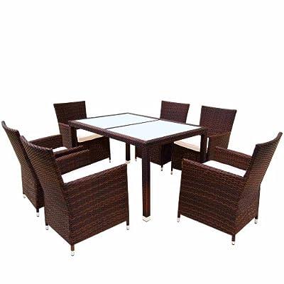 Hochwertige 17-teilige Polyrattan Sitzgarnitur Gartenmöbel Farbwahl Rattangeflecht & Tischplatte mit Kissen