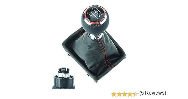 coutures noires DoLED Pommeau de levier de vitesse perfor/é 6 vitesses de rechange aspect chrom/é mat soufflet cadre en cuir