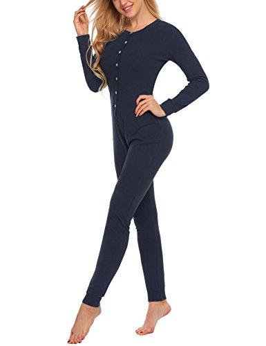 UNibelle Damen Jumpsuit Thermowäsche Jogger Einfarbig Jogging Training Anzug Overall Navy Blau M (Training Anzüge Für Frauen)
