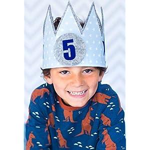 Geburtstagskrone Kinder Der Wollprinz Krone, Kinder Geburtstag-Krone Kinderkrone Geburtstagskrone, Stoffkrone Hellblau mit austauschbaren Zahlen