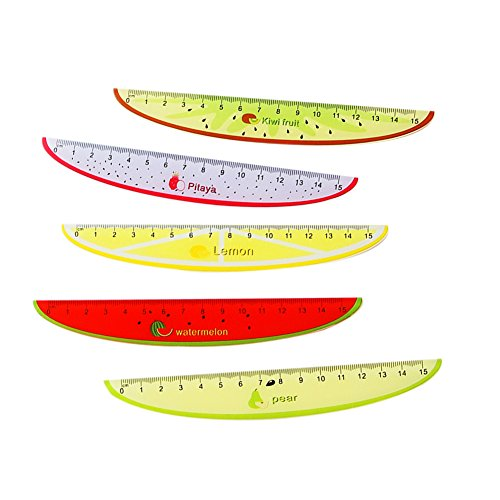 Mackur Creative Kunststoff Fruit Bedruckt Lineal 15cm Niedlichen Lineal Meßstab Nähen Lineal für Kinder Student Office Stationery 1Plüschtier
