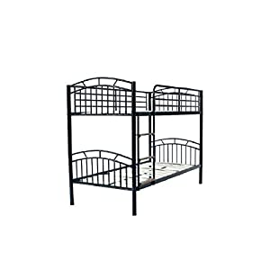 AJ Barcelona Strong Metal 3ft Single Bunk Bed - Black or Silver
