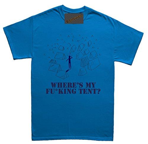 Renowned Where's my Fu*king tent? Damen T Shirt Blau