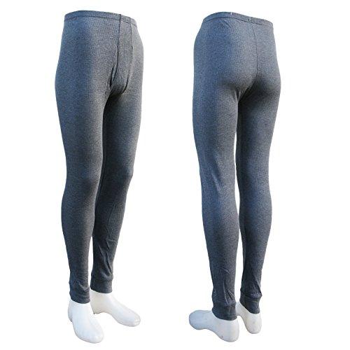 2 lange Thermo- Funktions- Unterhosen für Herren - Sport- und Arbeits-Unterhosen mit Eingriff (7/L, dunkelgrau)