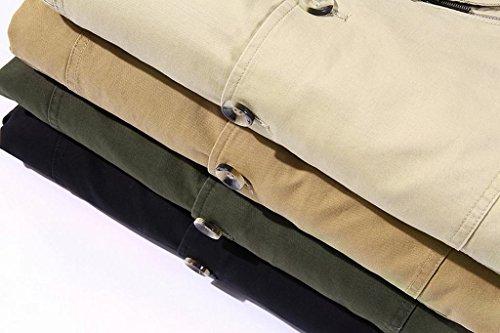 ZSHOW Homme Blouson Manches Longues Col à Revers Veste Classique Manteau Zip Trench Coton nankin