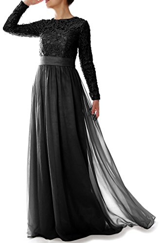 MACloth Elegant Long Sleeve Mother of Bride Dress Lace Formal Evening Gown Black