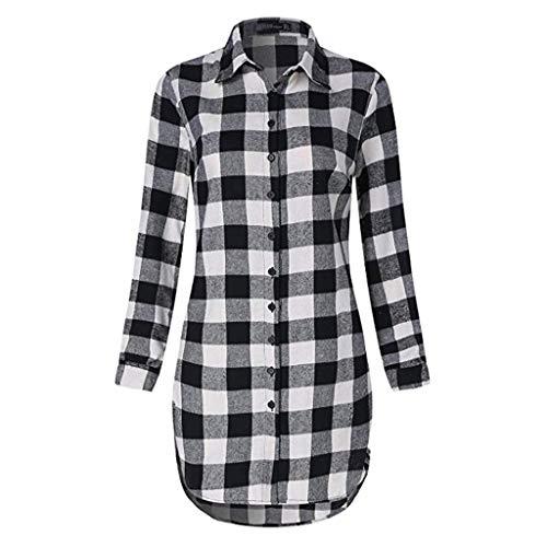 OHQ Damen Hemd Langarmshirt Kariertes Hemd Karohemd Hemdkleid Blusenkleid Oversize Cardigan Top Shirtkleid Karo Kleid