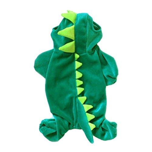 moresave mascota disfraz de Halloween de dinosaurio de perro perros verde abrigo ropa sudadera con capucha junpsuit