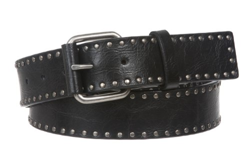 strapiscool Snap fastening with studded leather belt Antique metal circles - black - Medium - 36