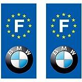 Autocollant plaque immatriculation auto avec marques constructeur - BMW