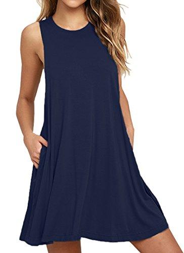 LILBETTER Frauen Ärmelloses Casual Loose Fit T-Shirt Tunika Kleid Swing Kleid (Navy blau XL) (Kleider Blau Groß Frauen Für)
