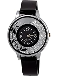 OpenDeal Flower Print Dial Movable Diamond PU Strap Analouge Watch For Women And Girls Analog Watch - For Girls...