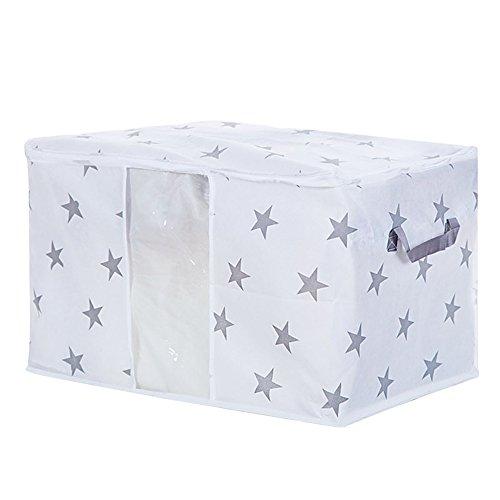 Gesteppte Vliesstoff-Tasche von Vanker, Aufbewahrung für Kleidung, Unterwäsche, BHs, Bettwäsche, Boxen mit Reißverschlüssen (Sterne; 50cm x 42cm x 27cm) -