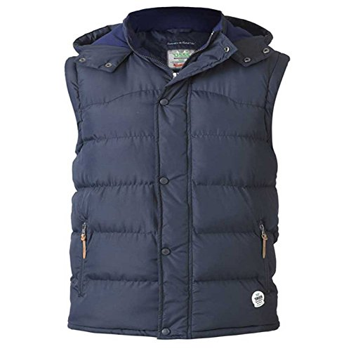 Duke D555 Mens Kingsize Big Tall Heavy Quilted Padded Gilet Body Warmer With Hood-Navy-3XL Tan Popper