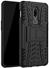 Like it Grab it One Plus 6 Back Cover, Shockproof Slim Rugged Hybrid Kickstand Back Cover Case for OnePlus 6 (Black)