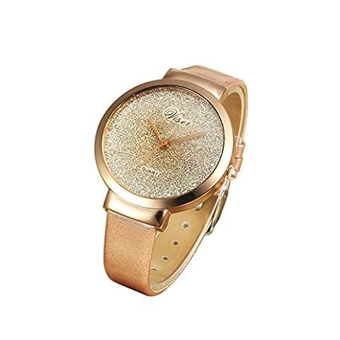 Women's Watch, Toamen Fashion Women Leather Casual Watch Luxury Analog Quartz Crystal Wrist Watch (Rose