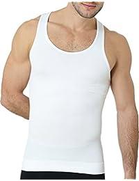 UnsichtBra Herren Shapewear Tanktop, Body Shape Bauch Weg Shirt in weiß und schwarz