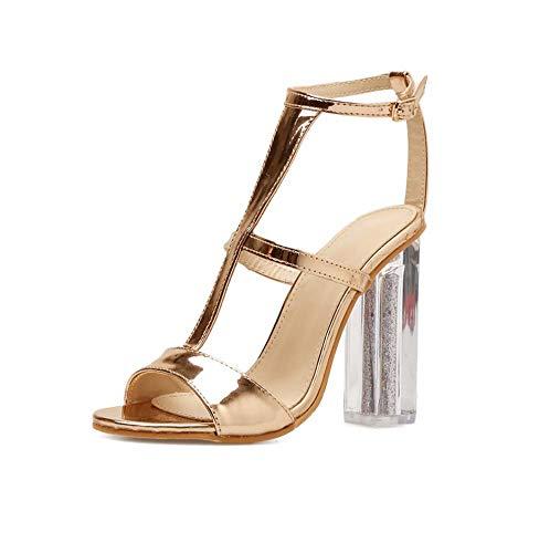 Ghfjdo sandali vintage donna primavera ed estate in pu, gladiatore con tacco a spillo, scarpe aperte con fibbia a punta, per matrimonio, festa e serata,gold,38eu