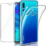 """Leathlux Coque Huawei P Smart Plus 2019 Transparente + Verre trempé Protection écran, Souple Silicone étui Protecteur Bumper Housse TPU Case Cover Coque pour Huawei P Smart+ 2019 / Enjoy 9s 6.21"""""""