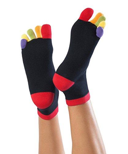Knitido Rainbows | Kurze Zehensocken mit bunten Zehen, aus 95% Baumwolle, für Damen und Herren, Größe:39-42, Farbe:Happy Toes (131) (Schwarze Ferse Welle)