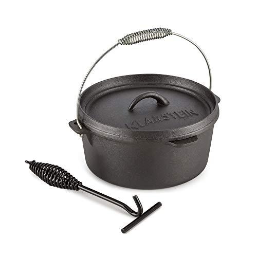 Klarstein Hotrod 45 Ducth Oven • Pentola in Ghisa • Pentola per Barbecue • Capacità 4,5 qt / 4 L • Cucinare, Arrostire, Cuocere al Forno • Bordi Coperchio Extra Alti • Sollevatore Coperchio Incluso