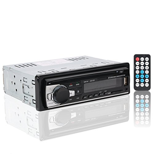 tooth Autoradio mit Bluetooth Fernbedienung Auto Stereo Audio Ricevitore In-Dash MP3 Player, FM Radio Funktionen,Aux SD Kartenslot USB,ISO Generell Stecker (Autoradio Iso)
