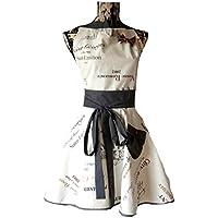 tablier de cuisine femme rétro et glamour imprimé étiquettes vin