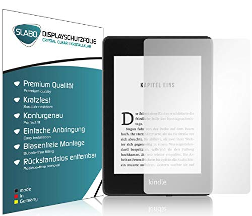 Slabo 2 x Displayschutzfolie für Kindle Paperwhite 2018 (10. Generation) Displayschutz Schutzfolie Folie Crystal Clear unsichtbar Made IN Germany