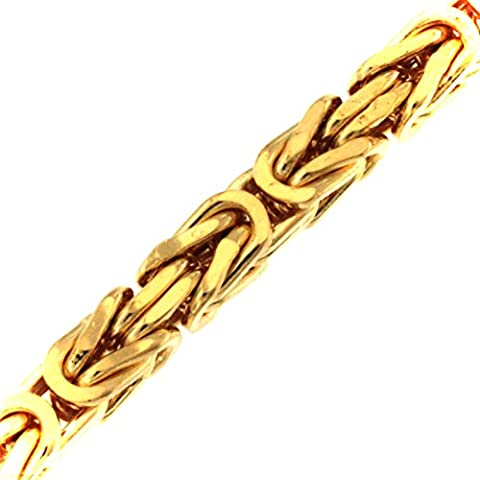 Bracelet 16 Cm - Bracelet Chaine Byzantine royale carré 18ct or