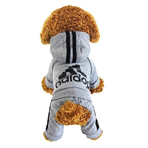 Animales Ropa - Pet Costume Ropa Para Perros Perrito Sudadera Con Capucha Pullover, Gris X-Large
