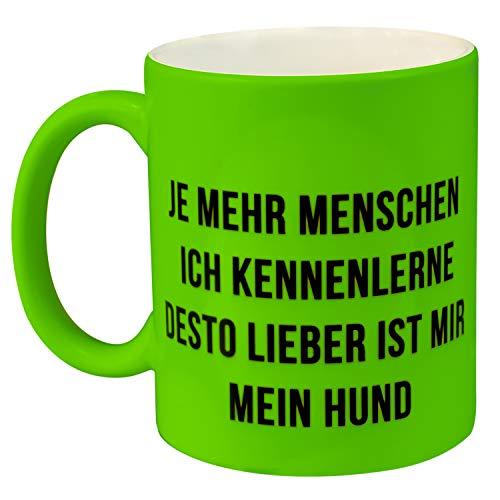 Neontasse mit Hundemotiv (Grün) - Kaffeebecher mit Spruch in kreativen Neonfarben selbst gestalten - Tasse Ich Hasse Menschen lustig, für Freunde Kollegen, Männer und Frauen