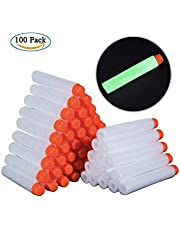 ZZ ZONEX 100pcs Hollow Out Soft Foam Refill Darts for Nerf N-Strike Elite Series Blasters(White, Glow in The Dark)