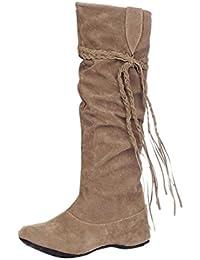 RAZAMAZA Damen Schuhe Bequeme Niedrige Knie Hoch Stiefel (34 As, Brown)