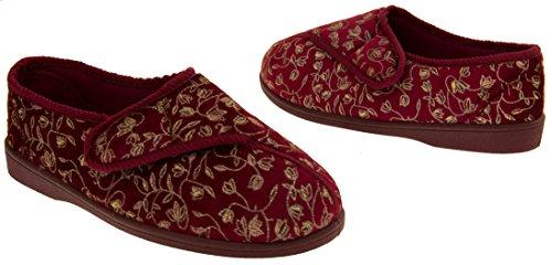 signore extra larghi montaggio Pantofole ortopedici diabetici,Sz, 36,37,38,39,40,41 Rosso Bordeaux