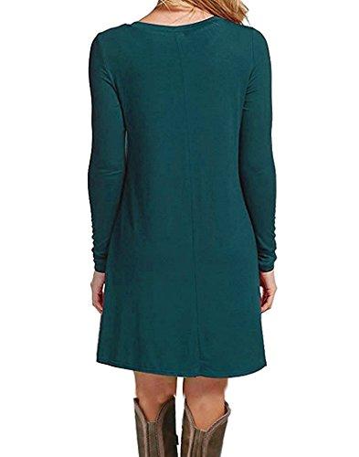 VIISHOW Damen Langarm Kleid Lose T-Shirt Kleid Rundhals Casual Tunika Mini Kleid Dunkelgrün