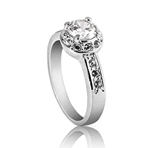 FAIRY COUPLE Jewelry Lady Women Cubic Zirconia Engagement Ring R67 H