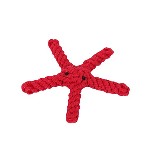 Nikgic 17.5 * 17.5CM Rote Baumwolle Stricken Kleine Seestern Pet Toys Hohe Qualität Baumwollschnur Hundespielzeug Pet Entwicklung Intellektuellen Spielzeug