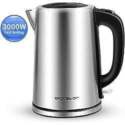 Aigostar 30LDG - 3000W Bouilloire électrique d'une capacité de 1,7 litres, sans BPA. Système de protection contre l'ébullition à sec