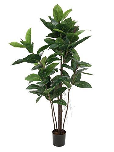 artplants – Künstlicher Gummibaum mit 85 Blättern, 9-stämmig, 120 cm – Plastik Zimmerpflanze/Deko Baum