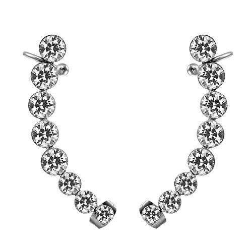 JewelryWe Boucles d'Oreilles Femme Mode Faux Diamant Acier Inoxydable Fantaisie Noir Blanc Avec Sac Cadeau Blanc