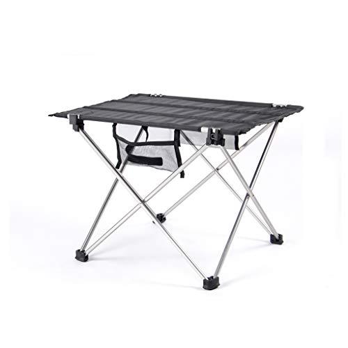 Table pliante extérieure alliage d'aluminium portatif ultra-léger épaissie Oxford chiffon camping barbecue table de pique-nique (Couleur : NOIR)