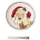 Mud Pie 41100002 Vintage Käseteller Santa Servierset, Einheitsgröße, weiß/rot
