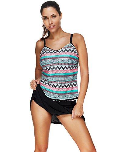 BOZEVON Donne Costumi Da Bagno Tankini Bikini Moda Strisce Floreale Due Pezzi Costume multicolore-Stile A