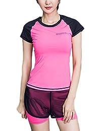 Donna Tute da Ginnastica Colori Misti Estate T-Shirt Maniche Corte Cute  Chic Collo Slim c86d4e91547